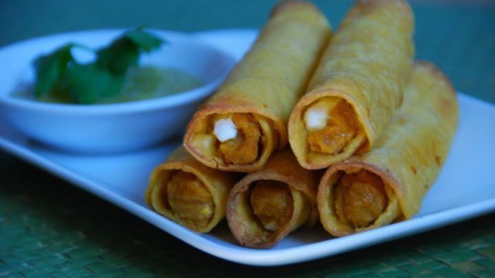 Roasted Pumpkin, White Bean and Goat Cheese Taquitos with Roasted Tomatillo, Jalapeno and Avocado salsa