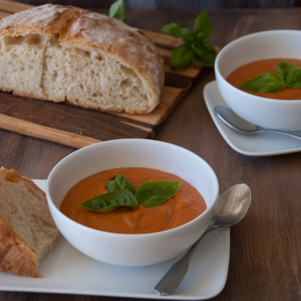 Creamy Tomato Soup and Rustic Almost No Knead Bread