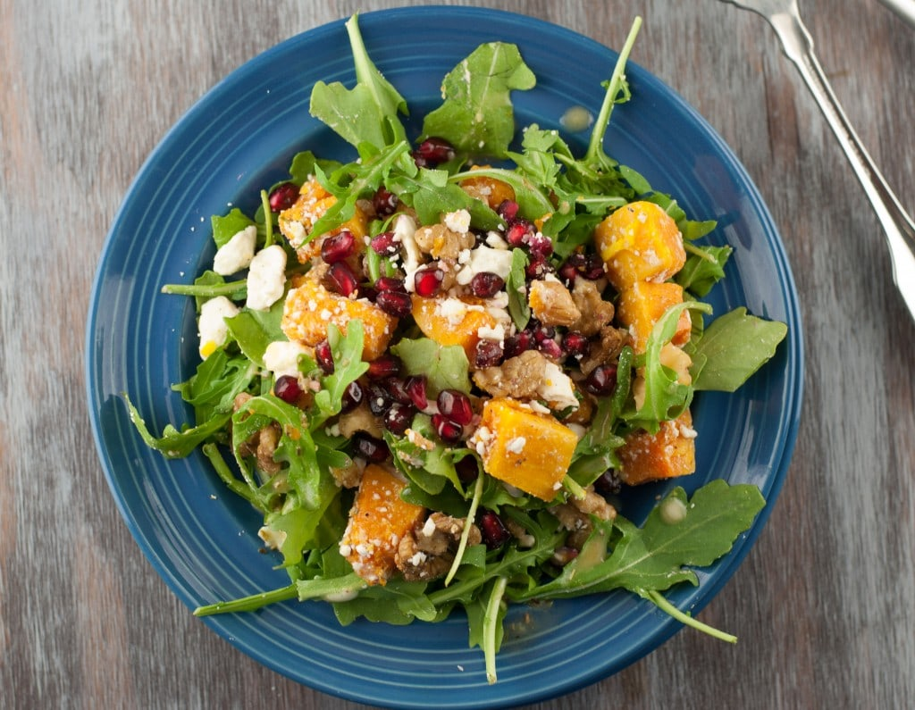 Butternut Squash Pomegranate Salad PineappleandCoconut.com