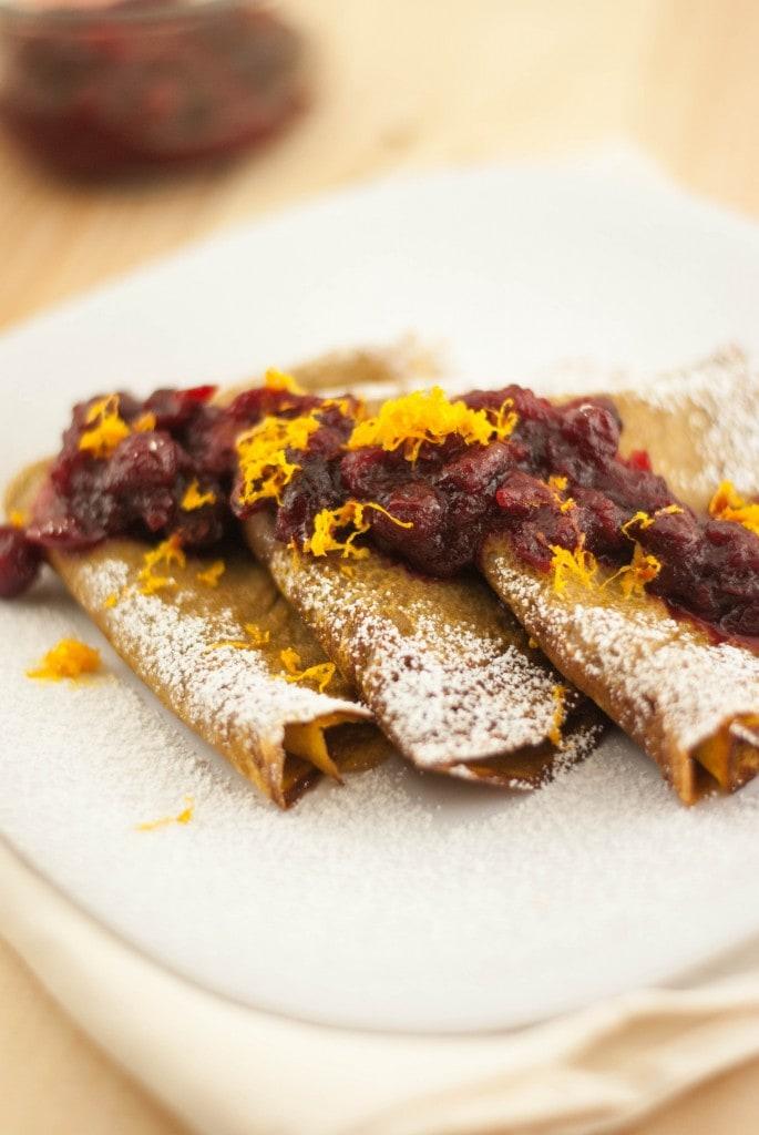 Sweet Potato Crepes with Orange Scented Cranberry Sauce PineappleandCoconut.com
