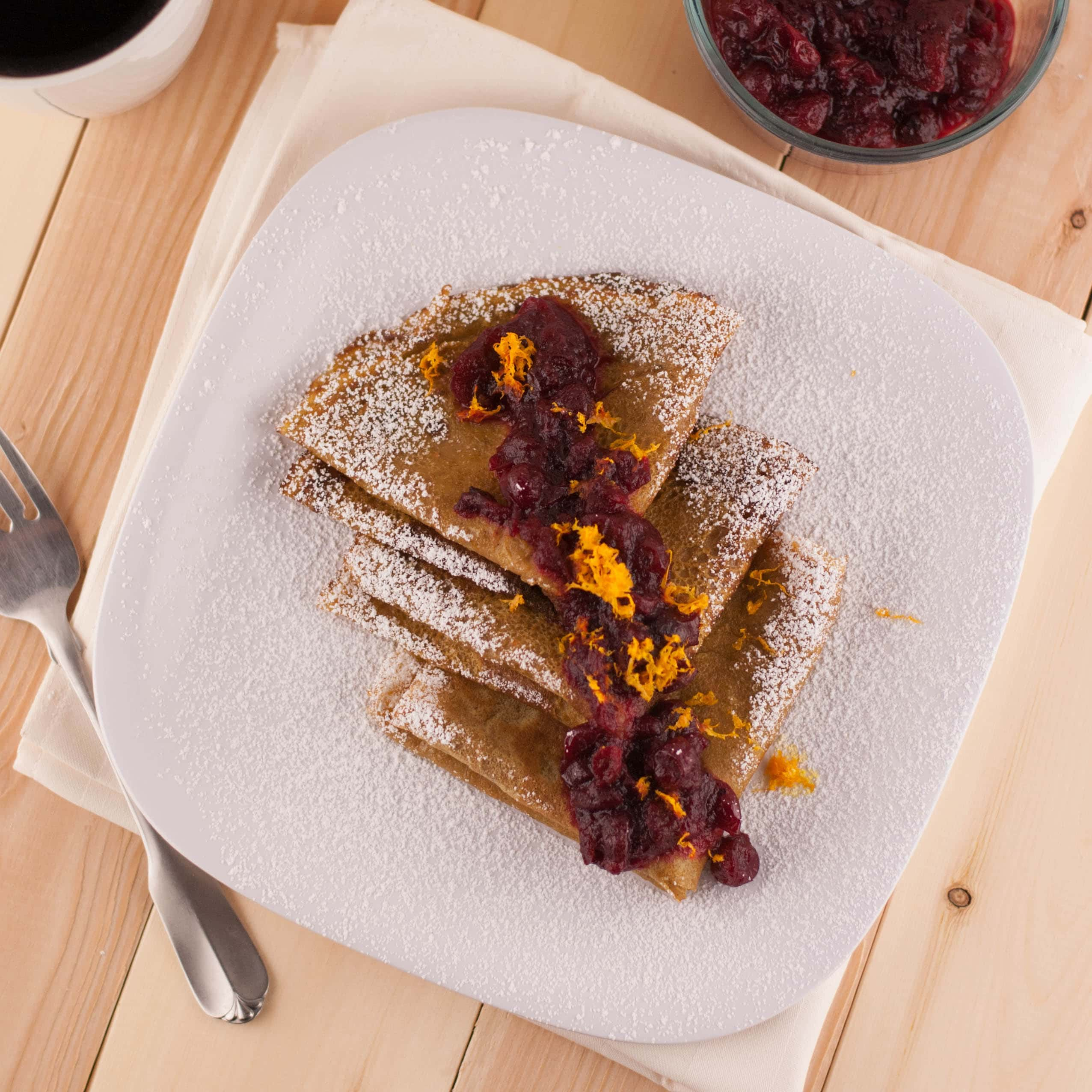 Sweet Potato Crepes with Orange Scented Cranberry Sauce PineappleandCoconut.com
