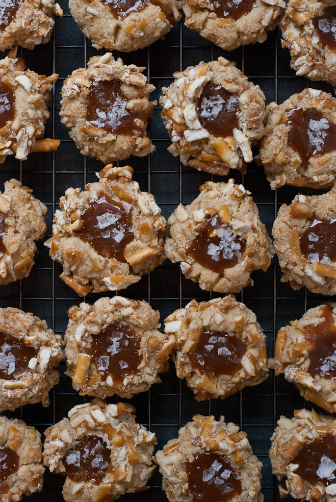 Brown Butter Bourbon Salted Caramel Thumbprints PineappleandCoconut 2 Brown Butter Salted Caramel Pretzel Thumbprints