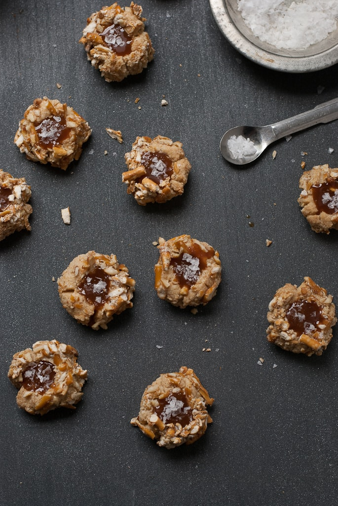 Brown Butter Bourbon Salted Caramel Thumbprints PineappleandCoconut 3 Brown Butter Salted Caramel Pretzel Thumbprints