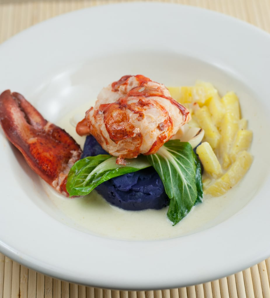 Coconut milk poached lobster with purple sweet potato puree and pineapple green curry sauce 22 Coconut Butter Poached Lobster with Pineapple Green Curry Sauce