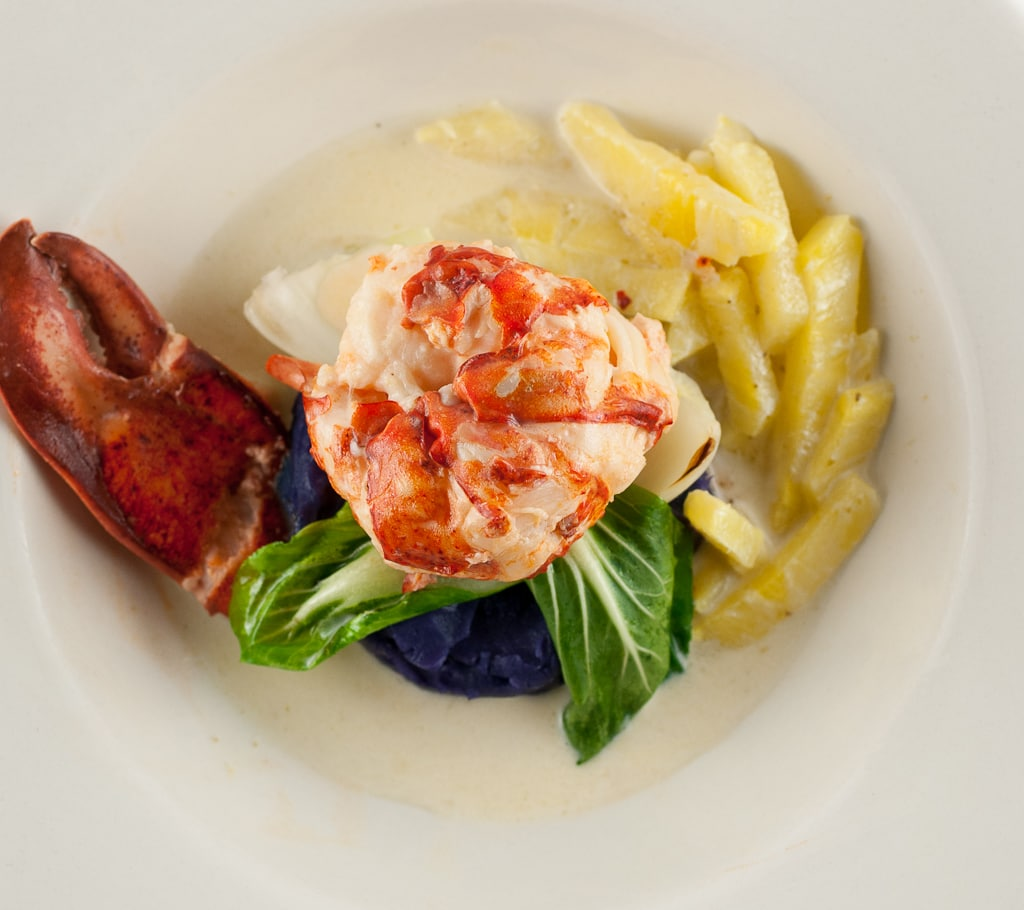 Coconut milk poached lobster with purple sweet potato puree and pineapple green curry sauce 24 Coconut Butter Poached Lobster with Pineapple Green Curry Sauce