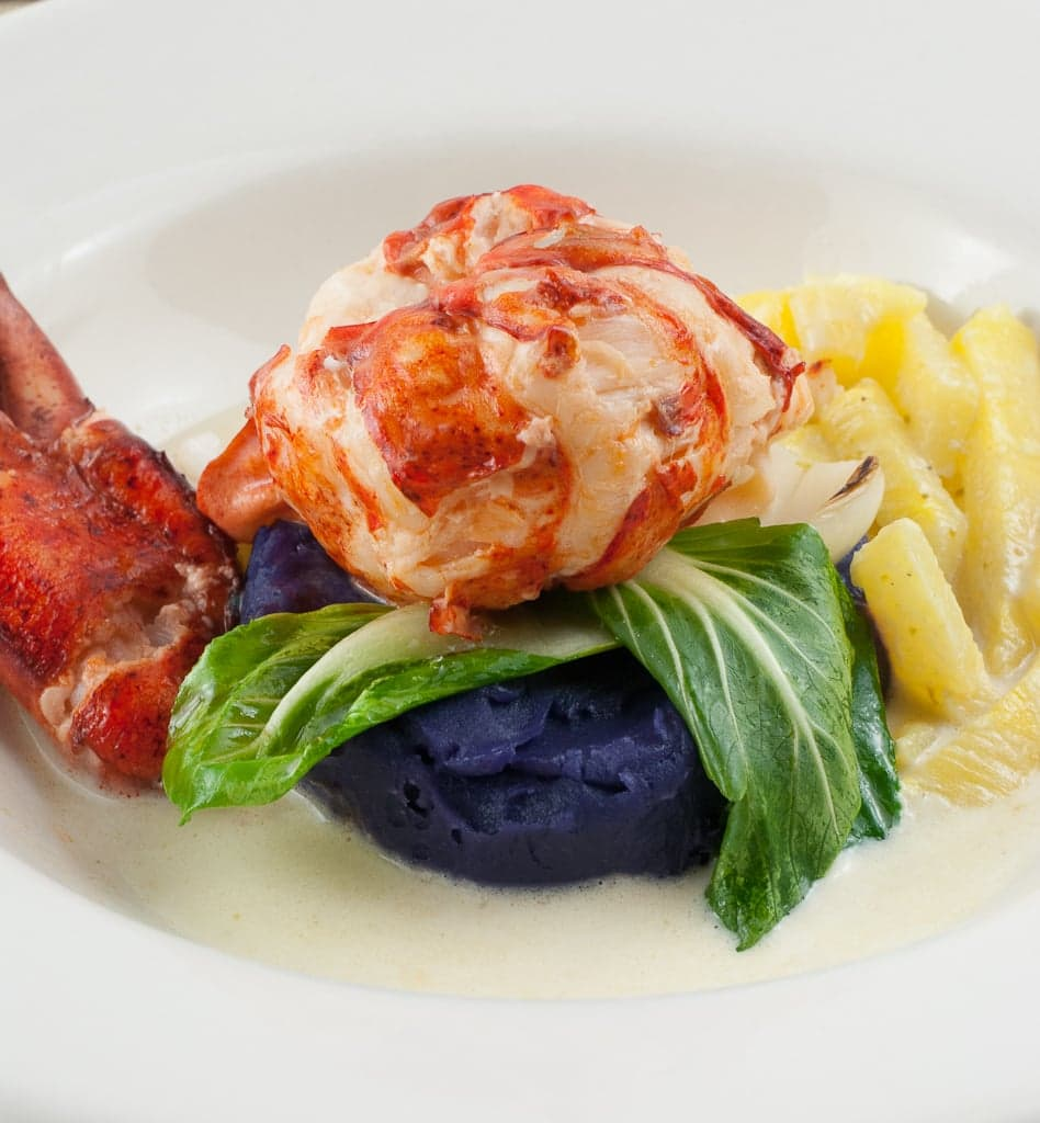 Coconut milk poached lobster with purple sweet potato puree and pineapple green curry sauce 25 Coconut Butter Poached Lobster with Pineapple Green Curry Sauce