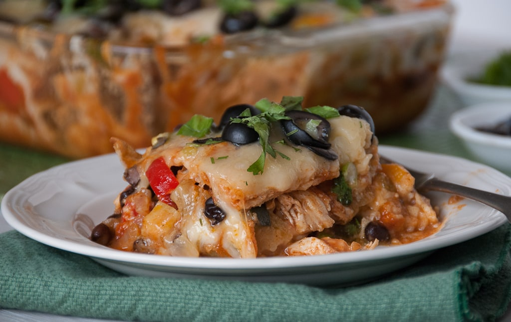 Lightened Up Roasted Veggie Mexican Lasagna Via Pineapple and Coconut
