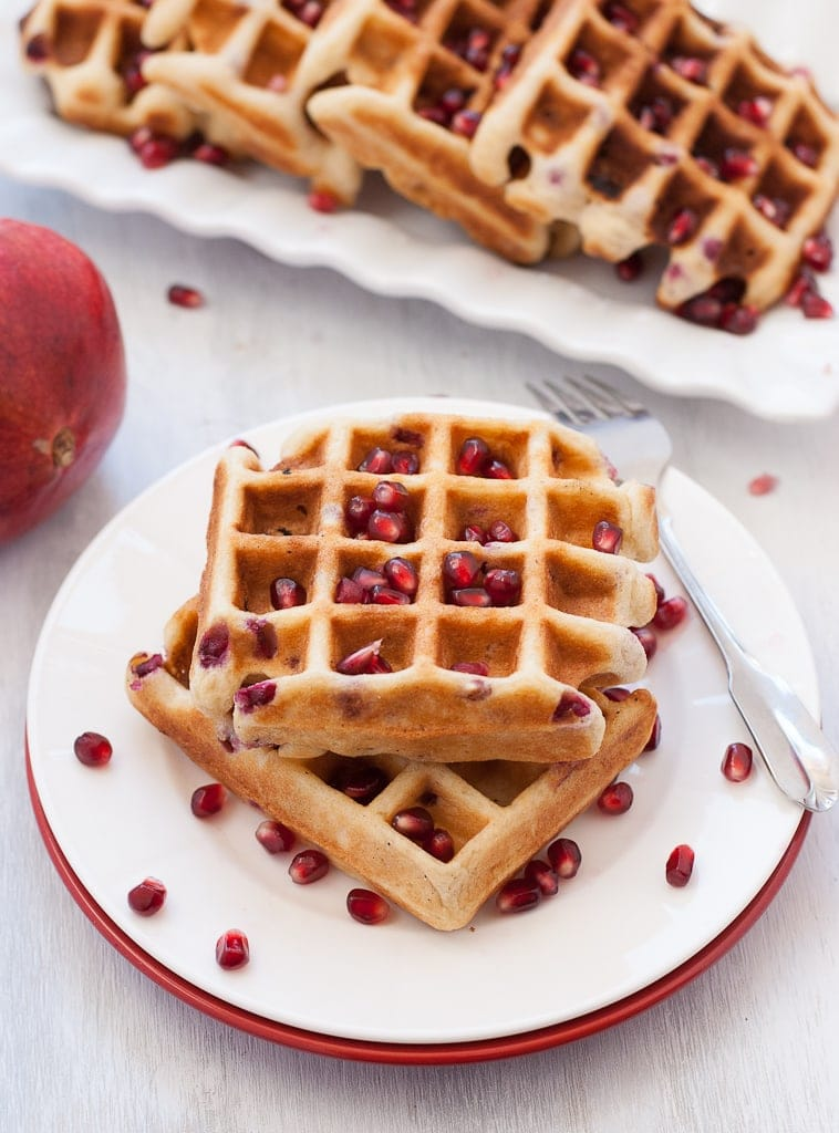 Pomegranate Waffles - Gluten Free Via PineappleandCoconut.com