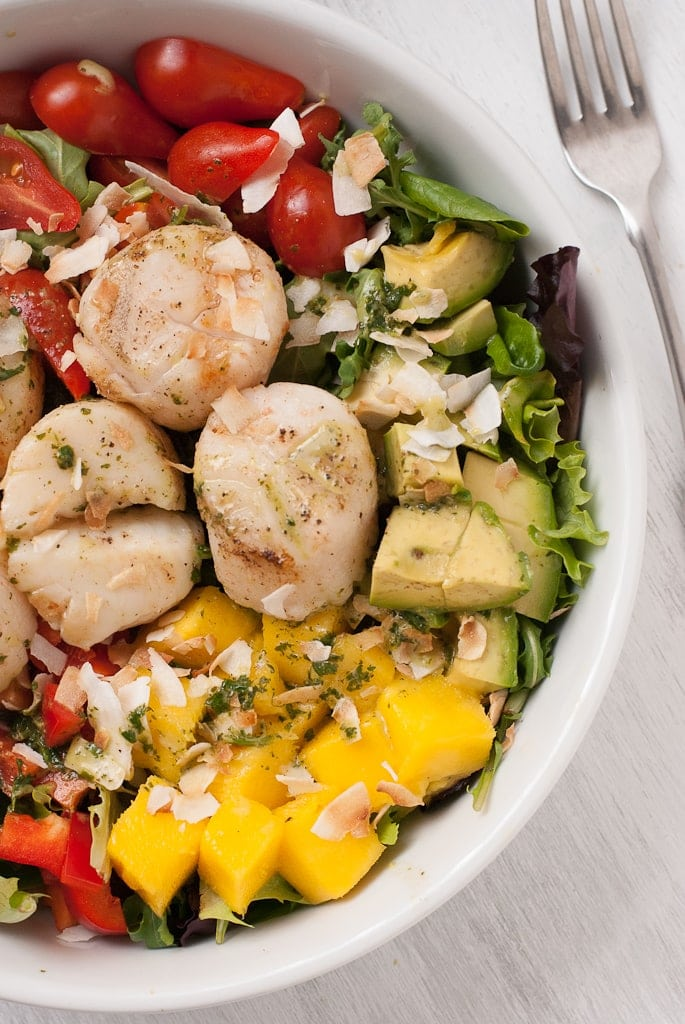 DSC 2744 Tropical Scallop Salad with Avocado and Mango and Toasted Coconut