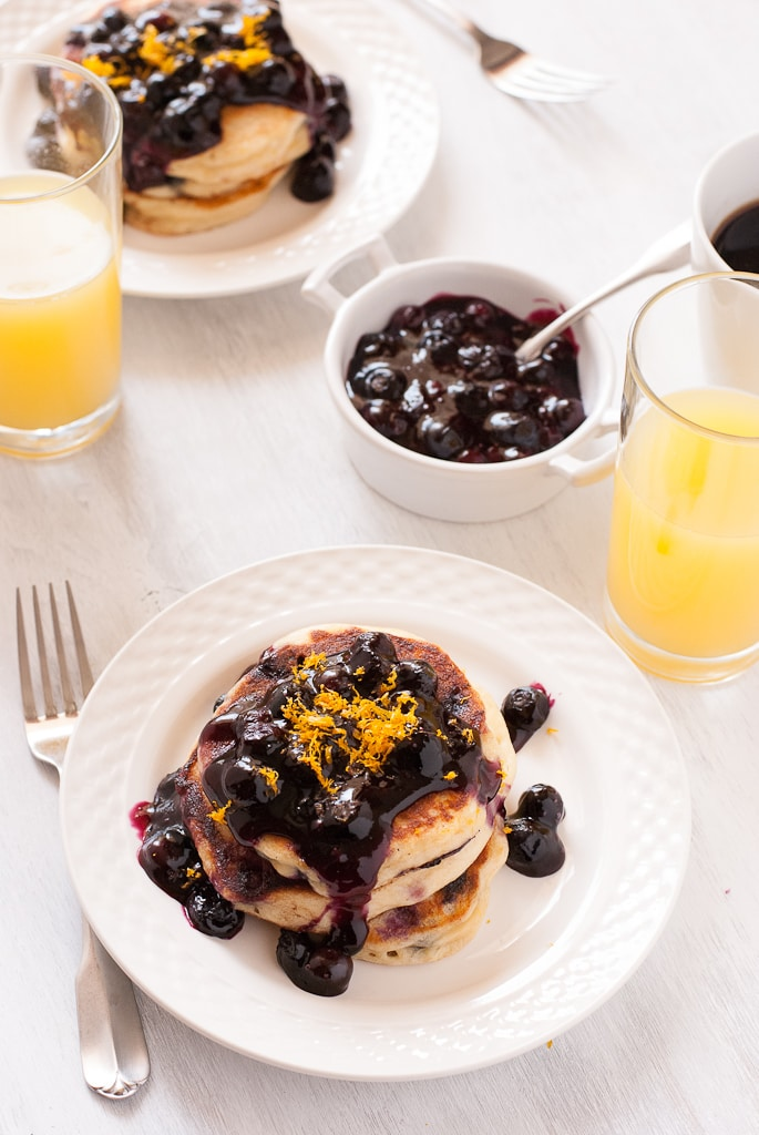 Gluten Free Meyer Lemon and Blueberry Pancakes Pineappleandcoconut.com #glutenfree