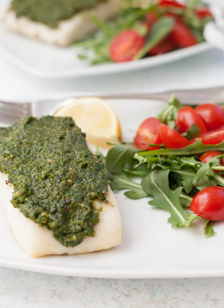 Grilled Halibut with Pistachio Kale Pesto PineappleandCoconut.com