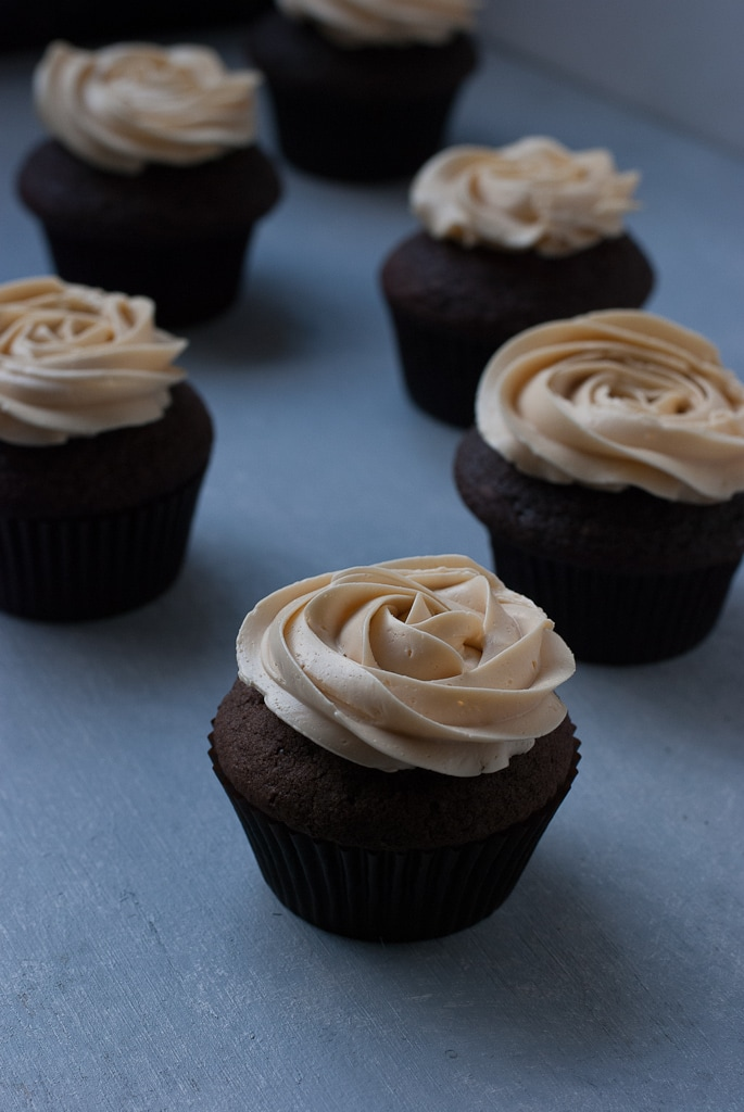 Dark Chocolate Cupcakes With Salted Caramel Buttercream PineappleandCoconut 12 Dark Chocolate Cupcakes with Salted Caramel Buttercream