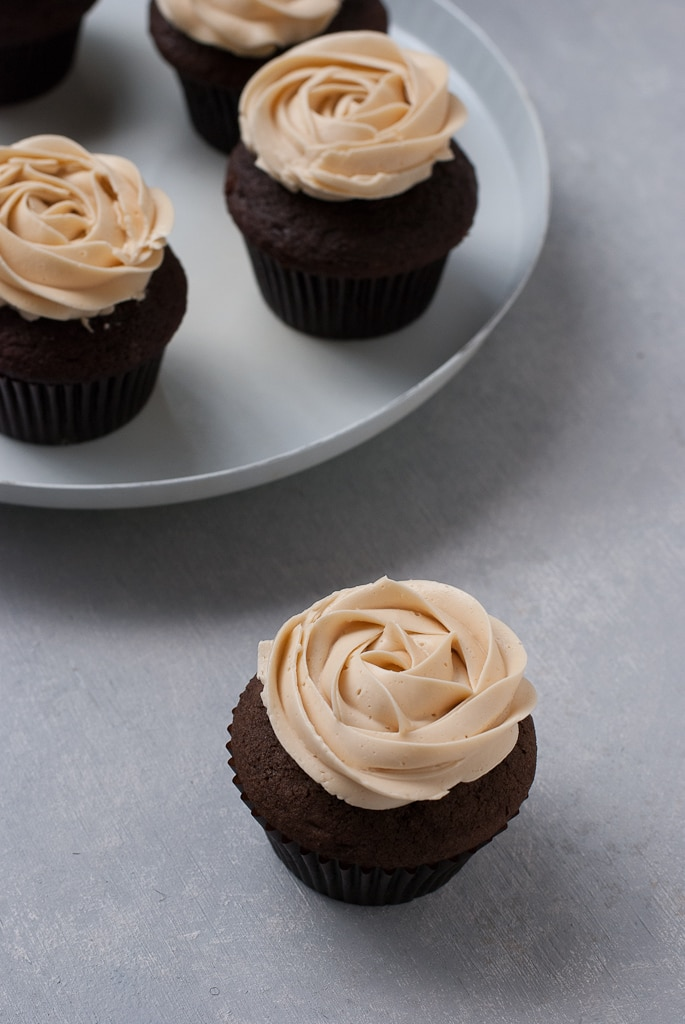 Dark Chocolate Cupcakes With Salted Caramel Buttercream PineappleandCoconut 3 Dark Chocolate Cupcakes with Salted Caramel Buttercream