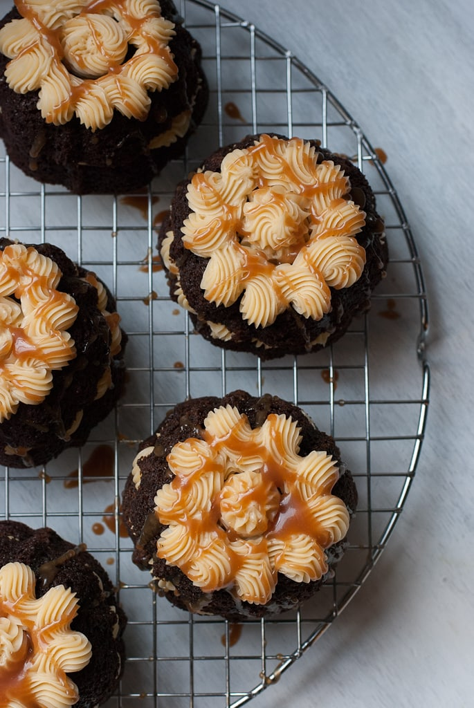 Guinness Stout MIni Bundt Cakes with Baileys Buttercream PineappleandCoconut.com