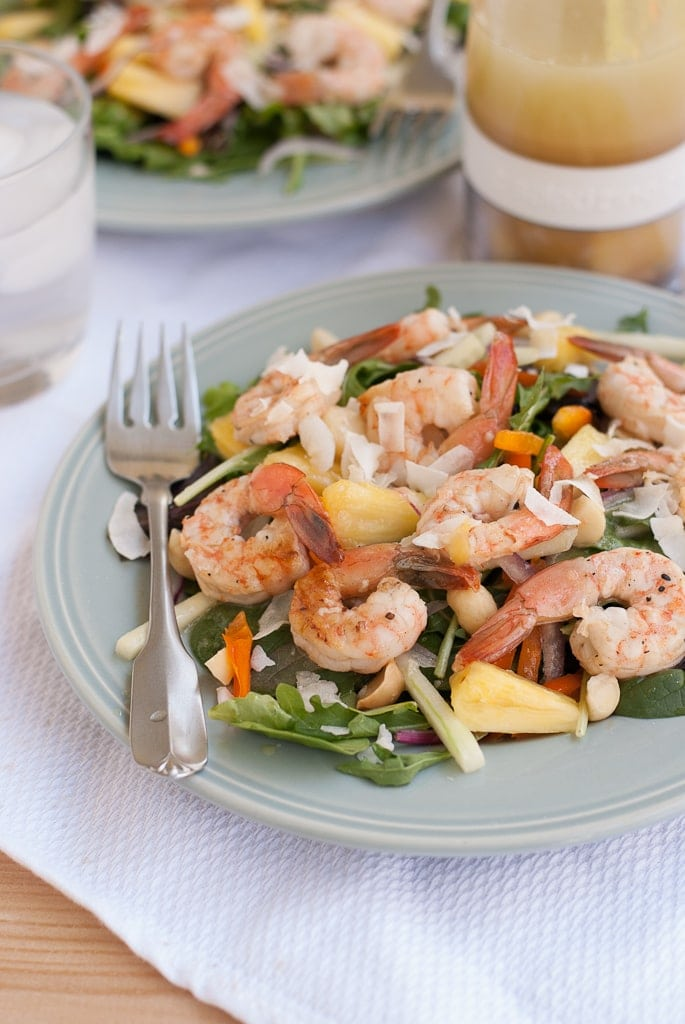 Grilled Shrimp Salad With Pina Colada Vinaigrette PineappleandCoconut.com #saladzinger #sweetrelish #zinganything (10)