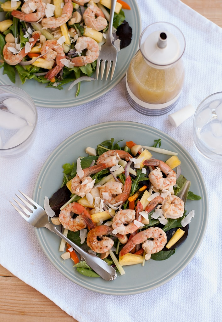 Grilled Shrimp Salad With Pina Colada Vinaigrette PineappleandCoconut.com #saladzinger #sweetrelish #zinganything (6)