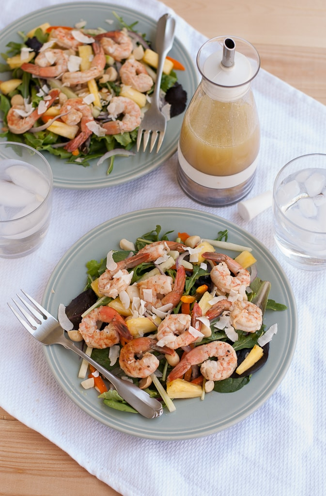 Grilled Shrimp Salad With Pina Colada Vinaigrette PineappleandCoconut.com #saladzinger #sweetrelish #zinganything