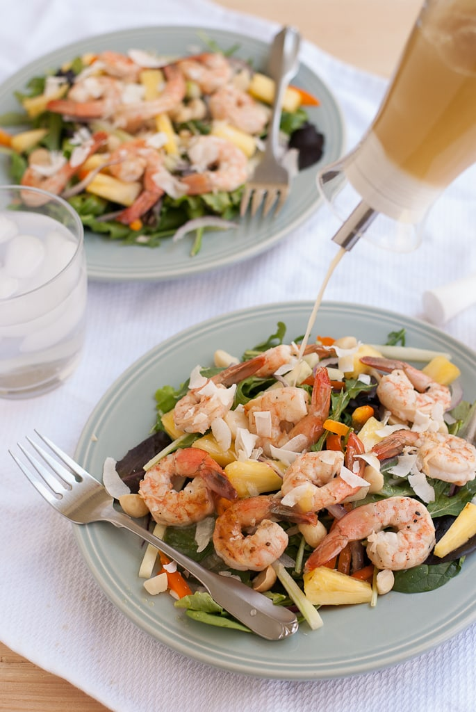 Grilled Shrimp Salad With Pina Colada Vinaigrette PineappleandCoconut.com #saladzinger #sweetrelish #zinganything (9)