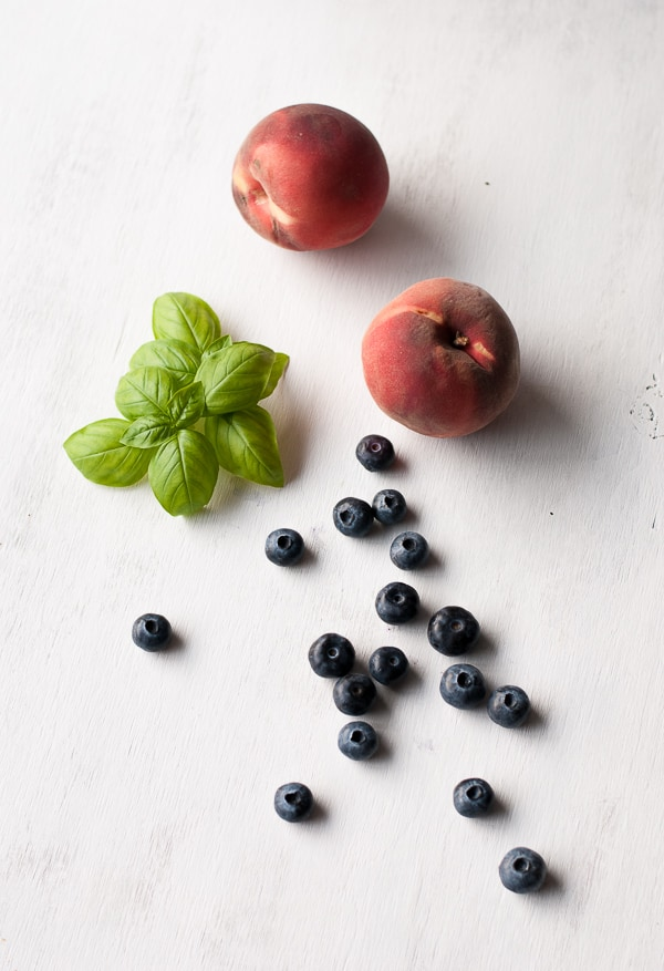 White Peaches Basil and Blueberries