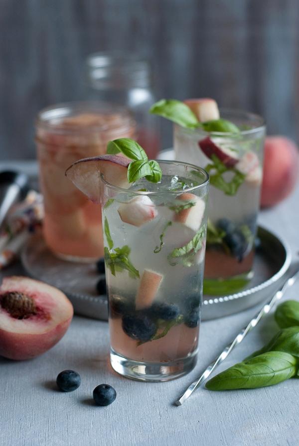 White Peach, Basil and Blueberry Mojto www.pineappleandcoconut.com