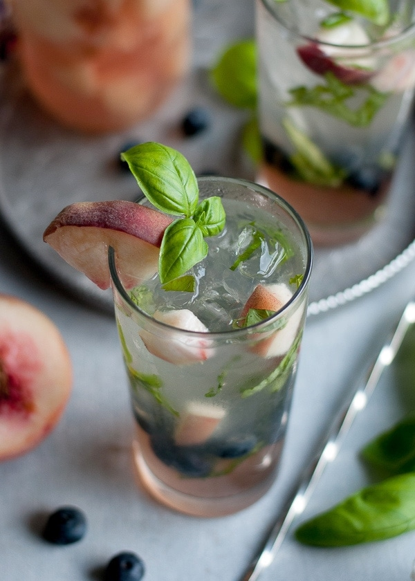 White Peach Basil and Blueberry Mojito www.PineappleandCoconut.com