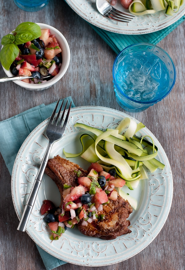 Perfectly Grilled Pork Chops With Blueberry Peach Basil Salsa www.pineappleandcoconut.com