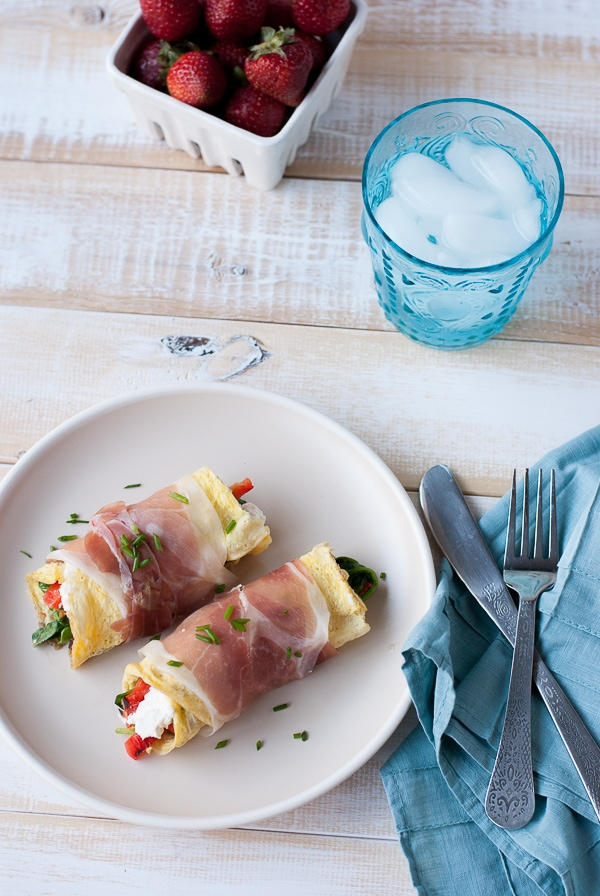 Proscuitto Wrapped Omelets with Goat Cheese, Spinach and Roasted Red Peppers (6)