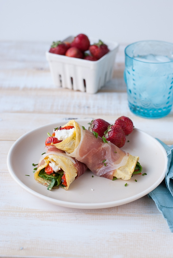 Proscuitto Wrapped Omelets with Goat Cheese, Spinach and Roasted Red Peppers (7)