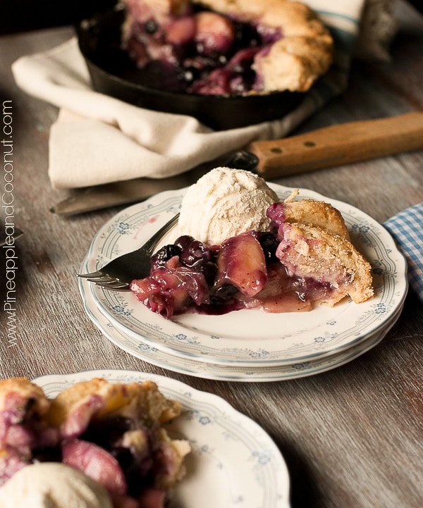 Rustic White Peach, Blueberry and Basil Skillet Galette www.PineappleandCoconut.com