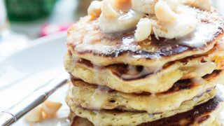 Coconut Banana Macadamia Nut Pancakes with Coconut Syrup