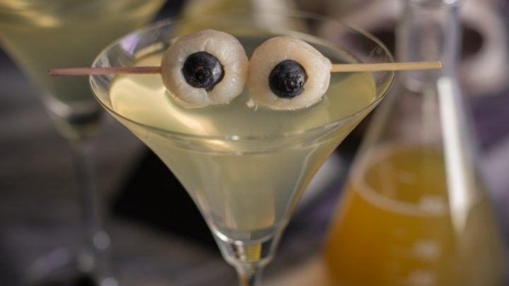 Creepy Halloween Eyeball Martini ( Lychee Matcha and Blood Orange Martini)