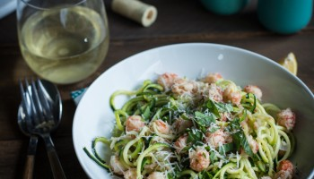 Zucchini linguine with langostino lobster sauce-2050