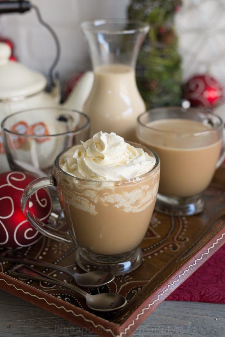 Aprés Ski Boozy Tea (with homemade vanilla maple creamer) for #holidayfoodparty