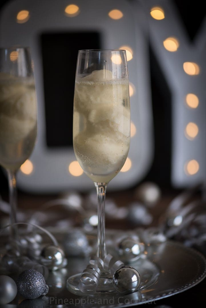 New Year's St. Germain Pear Sorbet Champagne Cocktail