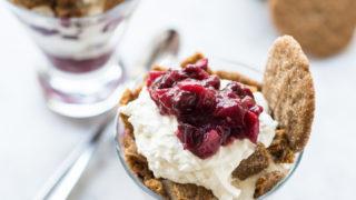 Vanilla Cranberry Ice Cream Sundaes with Spiced Gingersnaps