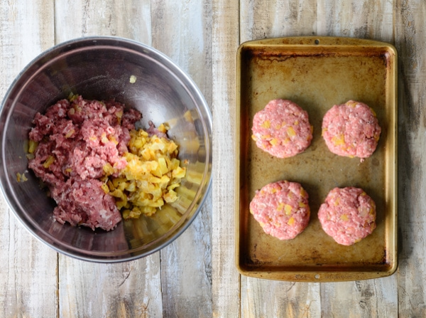 Hawaiian Pineapple Burger with Sweet Maui Onions and Homemade Taro Chips www.pineappleandcoconut.com