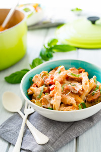 Chicken and Andouille Sausage Pasta with Creamy Smoked Mozzarella Cream Sauce