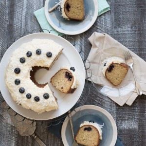 Coconut Black Currant Blueberry Bundt Cake with White Chocolate Cream Cheese Frosting