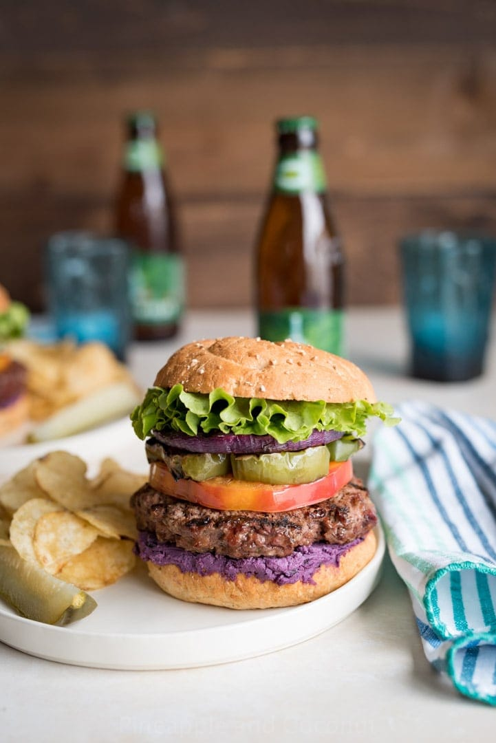 Blueberry Goat Cheese Grilled Bison Burgers Photos www.pineappleandcoconut.com
