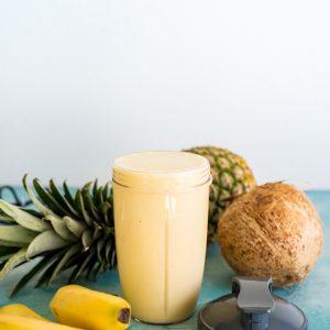 Banana Colada Protein Shake #nutribulletuniversity #ad #backtoschool www.pineappleandcoconut.com