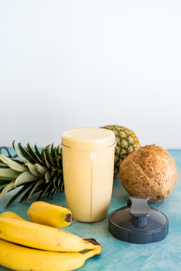 High Protein Banana Colada Smoothie #nutribulletuniversity #ad www.pineappleandcoconut.com