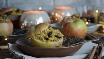 Cranberry Almond Couscous stuffed Baked Apples with Vanilla Ginger Honey Sauce www.pineappleandcoconut.com #ad #worldmarkettribe