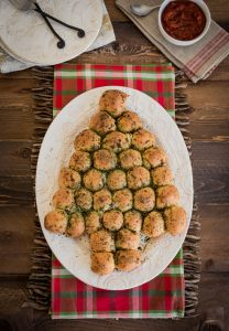 Savory Christmas Pull Apart Rolls with Marinara Dipping Sauce