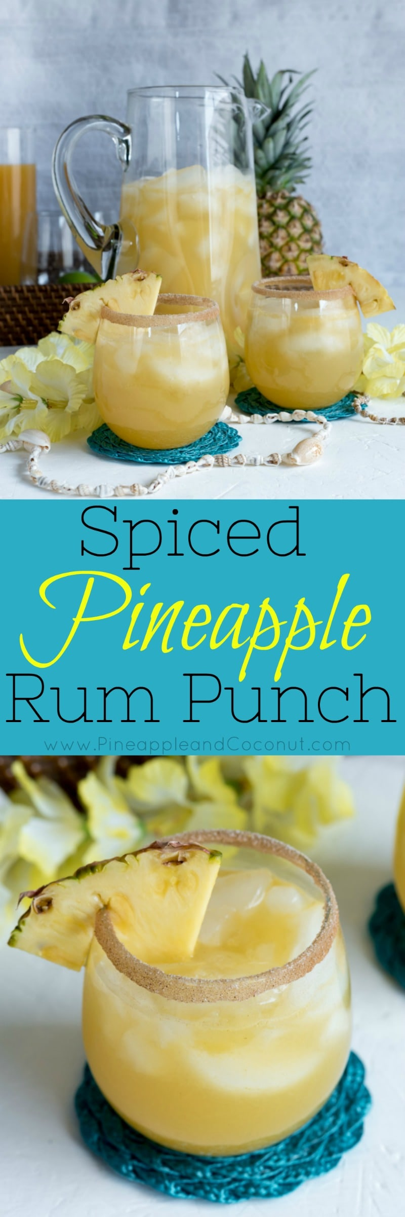 Spiced Pineapple Rum Punch www.pineappleandcoconut.com