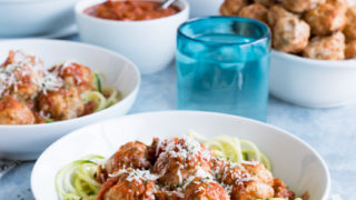 Lightened Up Zoodles and Meatballs with Spicy Marinara Sauce
