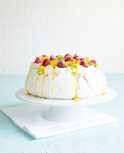 Vanilla Pavlova with Vanilla Bean Whip, Passion Fruit Curd and Pineapple Boba