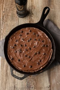 Guinness Stout Skillet Brownies with Salted Chocolate Guinness Frosting