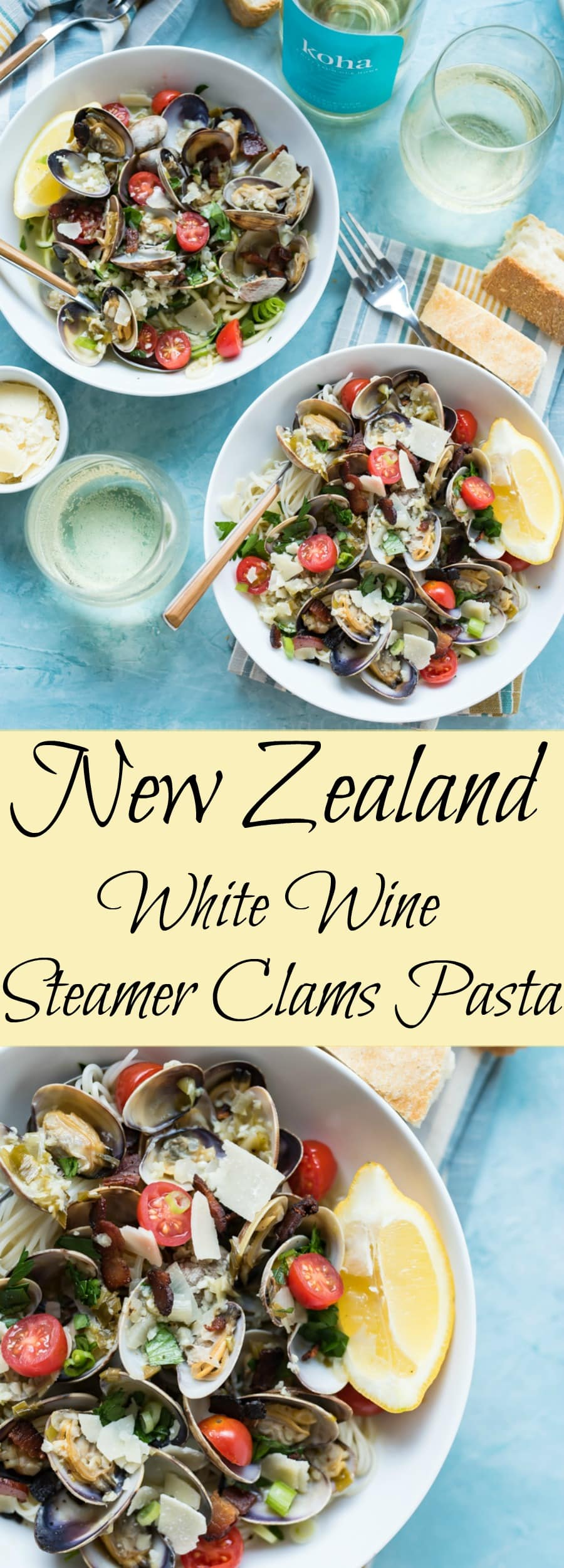 New Zealand White Wine Steamer Clams Pasta www.pineappleandcoconut.com