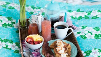 Mother's Day Breakfast in Bed - Coconut Brioche French Toast with Guava Syrup. And Guava-Rosé Mimosas www.pineappleandcoconut.com #AD #WorldMarketTribe