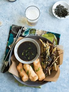 Asian Style Fish And Chips Tempura Salmon with Baked Japanese Sweet Potato Fries